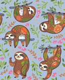 Милые лени с флористическим орнаментом в джунглях вектор картины безшовный бесплатная иллюстрация