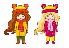Милые маленькие девочки в пальто и шляпах осени с ушами животных иллюстрация штока