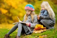 Милые маленькие девочки делая эскиз к снаружи на красивый день осени Счастливые дети играя в парке осени Дети рисуя с красочным p стоковые изображения rf