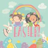 Милые маленькие девочки с темой пасхи пасха счастливая иллюстрация штока