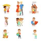Милые маленькие дети защищая их семью, друзей, животных и иллюстрации вектора планеты установленные на белизне иллюстрация вектора
