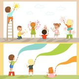 Милые маленькие gids крася с красками цвета и щеткой на комплекте стены, задними иллюстрациями вектора взгляда на белизне иллюстрация штока