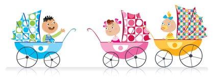 Милые младенцы в прогулочных колясках младенца бесплатная иллюстрация
