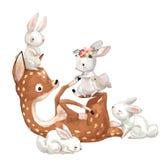 Милые олени лета с зайцами иллюстрация вектора