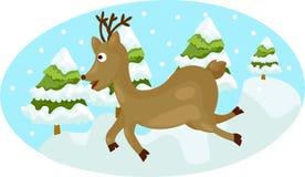 Милые олени работая на снежке Стоковые Изображения