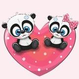 Милые панды сидят на сердце иллюстрация штока