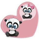 Милые панды шаржа на предпосылке сердца иллюстрация штока