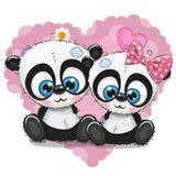 Милые панды шаржа на предпосылке сердца бесплатная иллюстрация