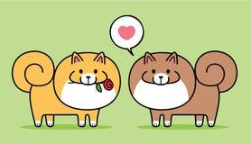 Милые пары собак Pomeranian иллюстрация вектора