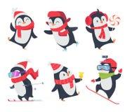 милые пингвины Изолированные животные снега зимы младенца персонажей из мультфильма сладкие дикие представляют вектор бесплатная иллюстрация