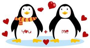Милые пингвины - счастливый день Святого Валентина Пары пингвинов иллюстрация штока