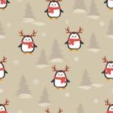 Милые пингвины шаржа с картиной рожков оленей безшовной иллюстрация штока