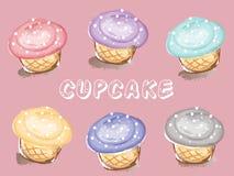 Милые пирожные на розовой предпосылке иллюстрация штока