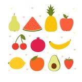 Милые плоды kawaii мультфильма Здоровое собрание стиля r r стоковое изображение
