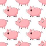 Милые поросята kawaii шаржа, piggy положение в профиле иллюстрация штока