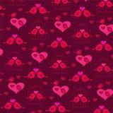Милые птицы валентинки с сердцами и birdcage Стоковые Изображения RF