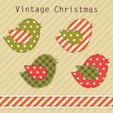 Милые птицы рая ткани как ретро applique ткани в затрапезном шикарном стиле в традиционных цветах рождества Стоковая Фотография RF