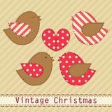 Милые птицы рая ткани как ретро applique ткани в затрапезном шикарном стиле в традиционных цветах рождества Стоковое фото RF