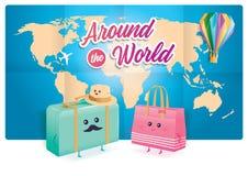 Милые путешествуя сумки с картой мира на предпосылке бесплатная иллюстрация