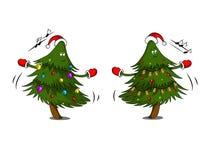 Милые рождественские елки с гирляндой танцуют иллюстрация вектора
