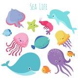 Милые рыбы моря младенца Собрание животных шаржа вектора подводное иллюстрация вектора