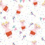 Милые свиньи в красных pantalones с леденцами на палочке иллюстрация вектора