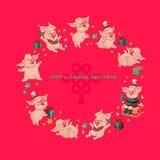 милые свиньи китайское счастливое Новый Год вектор стоковая фотография