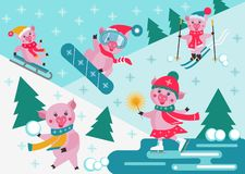 Милые свиньи мультфильма сползая, катаясь на лыжах и сноубординги на предпосылке зимы снежной Деятельность при спорта зимы иллюстрация штока