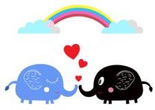 Милые слоны шаржа в влюбленности под радугой Стоковое фото RF