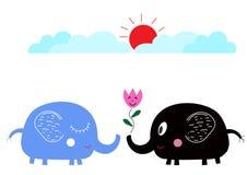 Милые слоны шаржа в влюбленности под солнцем Стоковые Фото