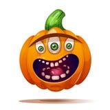 Милые, смешные, шальные характеры тыквы ноча луны иллюстрации halloween иллюстрация штока
