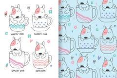 Милые собаки рука нарисованная с editable картинами иллюстрация штока