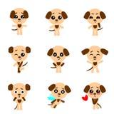 милые собаки Собака в стиле kawaii вектор комплекта сердец шаржа приполюсный иллюстрация штока