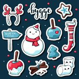 Милые стикеры hygge doodle Стикеры руки вектора вычерченные с литерностью hygge и уютными вещами снеговиком, antlers оленей иллюстрация штока