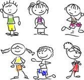 Милые счастливые малыши шаржа, вектор Стоковые Фотографии RF