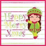 Милые улыбки девушки на striped предпосылке соответствующей для дизайна рождественской открытки Стоковое Фото