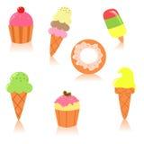 милые установленные десерты Стоковые Фотографии RF