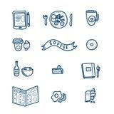 Милые установленные значки doodle кафа иллюстрация штока