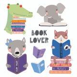 Милые установленные книги чтения животных бесплатная иллюстрация
