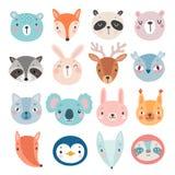 Милые характеры, медведь, лиса, енот, кролик, белка, олени, сыч и другие полесья иллюстрация вектора