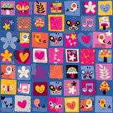 Милые цветки, птицы & картина сердец Стоковая Фотография RF