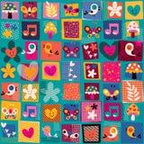 Милые цветки, птицы & картина сердец Стоковое Фото