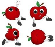 Милые яблоки шаржа Стоковые Изображения