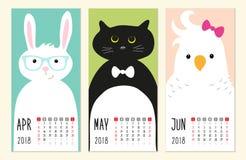 Милые 2018 calendar страницы с смешными характерами животных шаржа иллюстрация штока