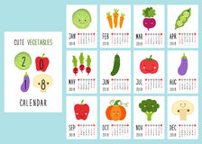Милые 2018 calendar страницы с усмехаясь характерами овощей и ретро написанного рукой тонкого шрифта иллюстрация вектора