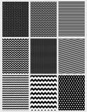 Милый абстрактный набор картин вектора 9 различных геометрических дизайнов бесплатная иллюстрация