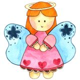 Милый ангел в нарисованной руке покрасил акварель изолированный на белой предпосылке бесплатная иллюстрация