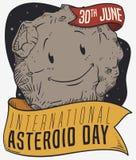 Милый астероидный усмехаться с лентами для международного астероидного торжества дня, иллюстрации вектора бесплатная иллюстрация