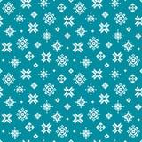 Милый безшовный teal картины снежинки зимы пиксела Стоковое Изображение