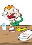 Милый белый мальчик имея обед в школе бесплатная иллюстрация